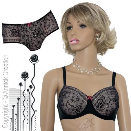 Ensemble lingerie motifs floraux, soutien-gorge pour prothèses