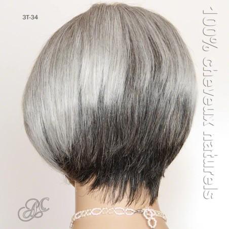 Perruque courte dégradée, cheveux naturels