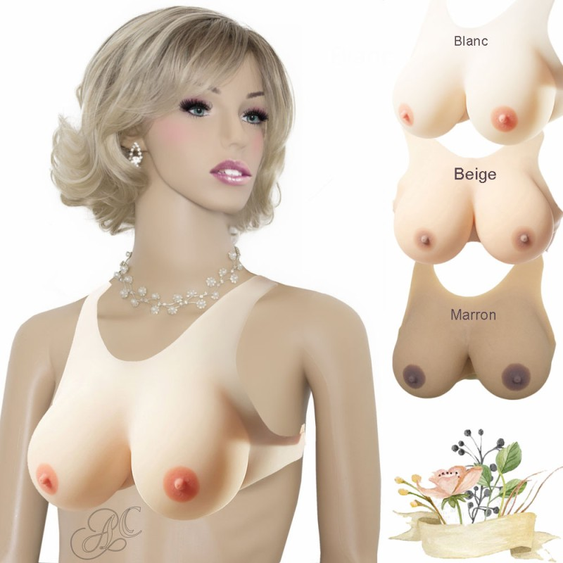 Buste faux seins silicone, style brassière