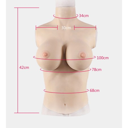 Buste long faux seins col haut, Silk padding taille G