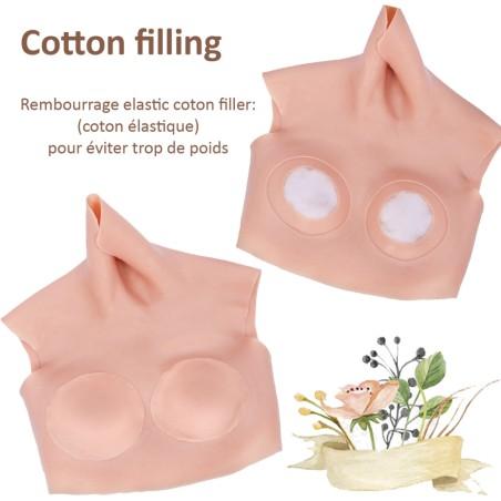 Buste faux seins, col haut, Cotton filling