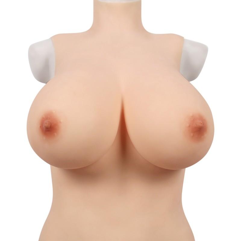 Buste long faux seins, col haut, Elastic Cotton, taille G