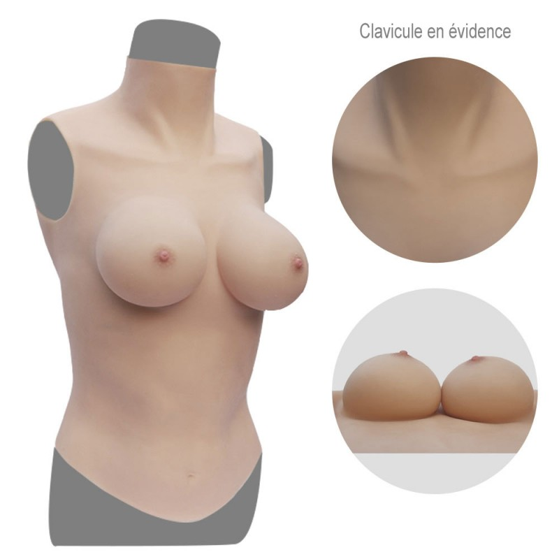 Buste long faux seins col haut, Silk padding