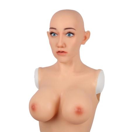 Buste fausse poitrine masque intégré, Bonnet E