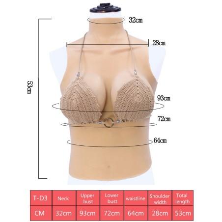 Buste long faux seins 100% silicone col haut, bonnet D