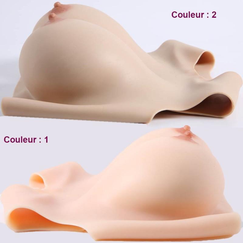 Buste faux seins silicone, encolure ronde, décolleté dos