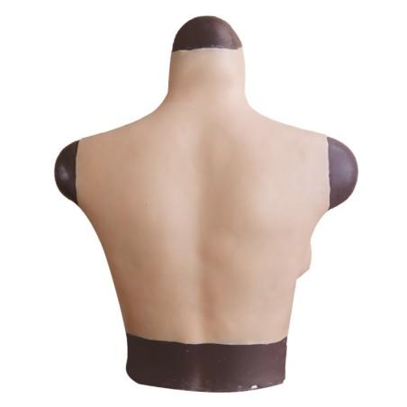 Buste faux seins 100% silicone, col haut, Bonnet C-D-E