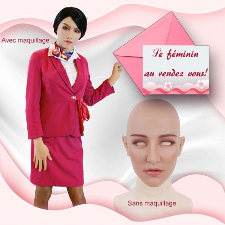 Masque féminin réaliste tête pleine, haut de gamme