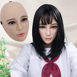 Masque en silicone demi-tête, avec un visage réaliste