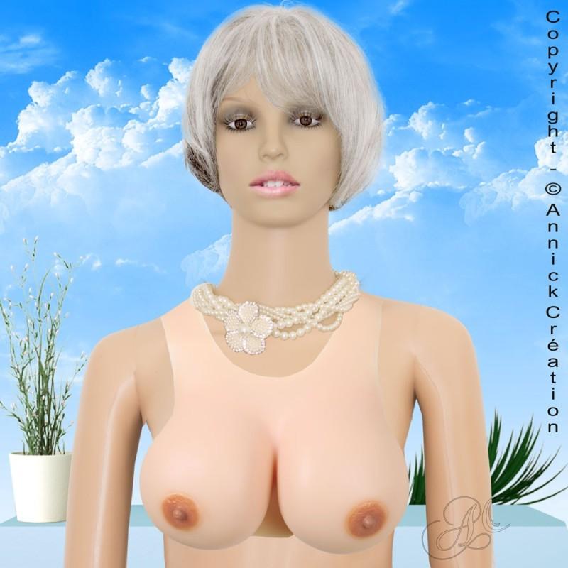 Buste faux seins silicone haut de gamme, encolure ronde