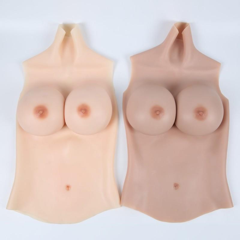 Buste long faux seins haut de gamme, col haut